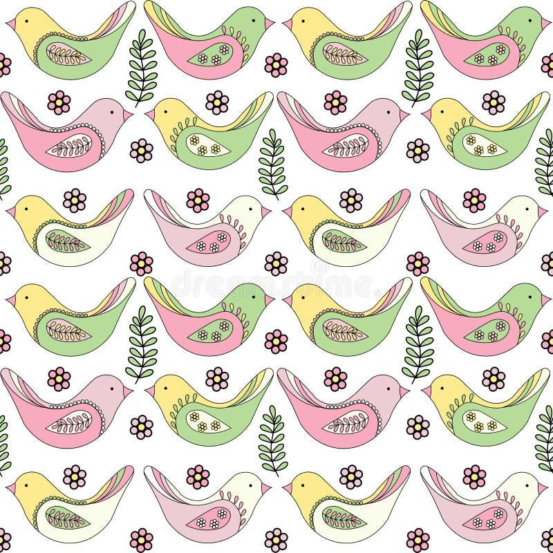 Modelo inconsútil de la primavera de pájaros multicolores en un fondo blanco stock de ilustración