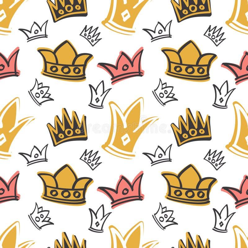 Modelo inconsútil de la princesa del vector lindo del cumpleaños con rosa y las coronas del oro libre illustration