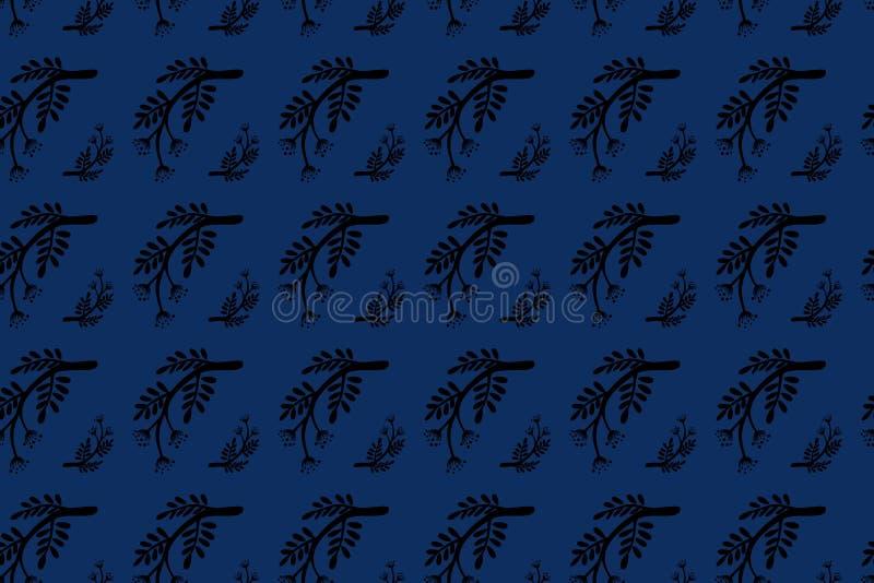 Modelo inconsútil de la rama de la mano de la hoja de la caída floral exhausta del otoño Negro en el fondo blanco o coloreado Árb fotografía de archivo libre de regalías