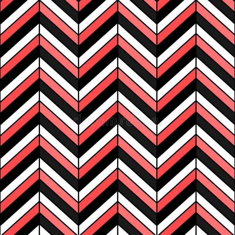 Modelo inconsútil de la raspa de arenque Vector la textura del negro del zigzag, blanca y roja stock de ilustración