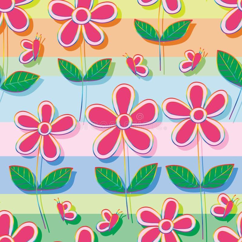 Modelo inconsútil de la raya del estilo del arco iris de la flor de mariposa ilustración del vector