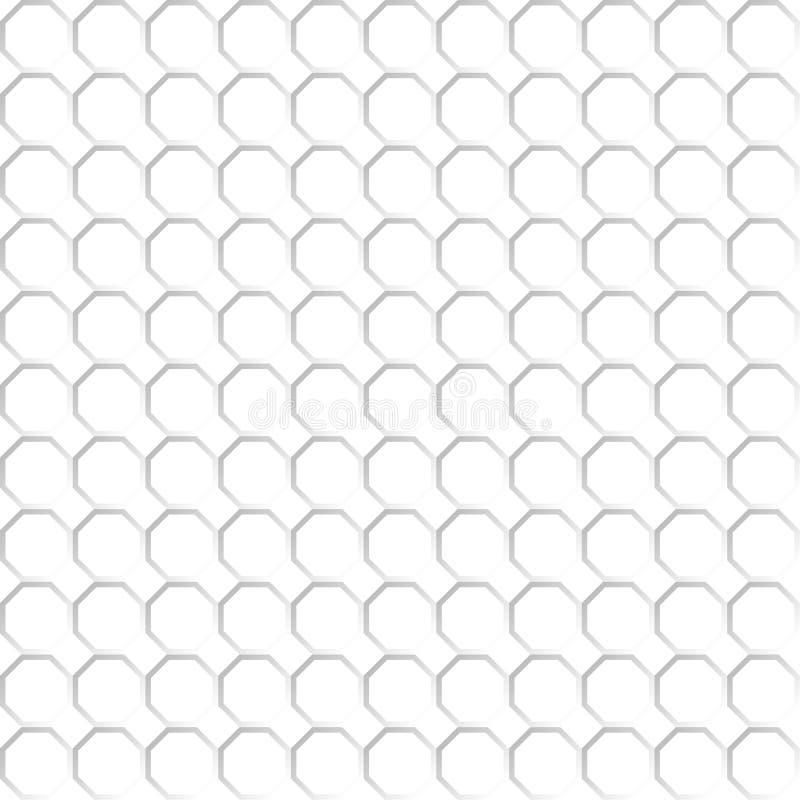 Modelo inconsútil de la red blanca del octágono Fondo transparente EPS 10 foto de archivo