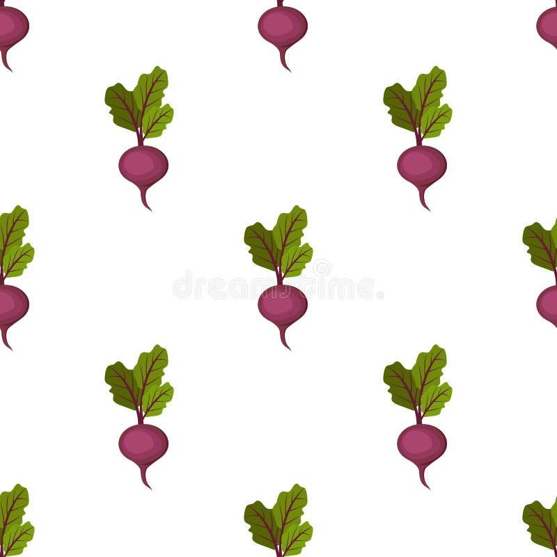 Modelo inconsútil de la remolacha dulce púrpura orgánica fresca stock de ilustración