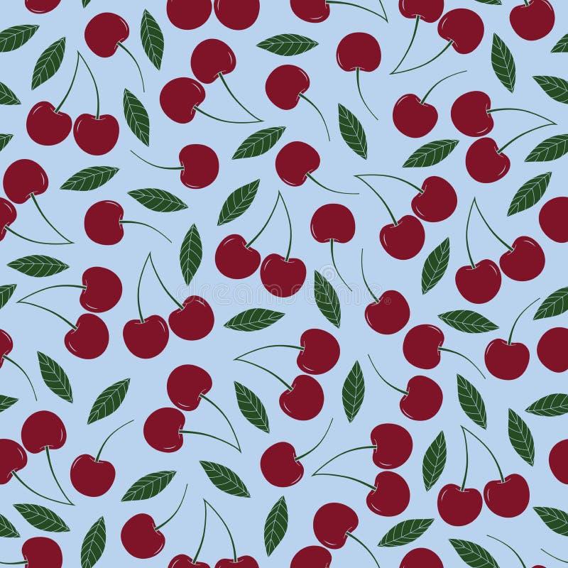Modelo inconsútil de la repetición de la cereza del vector Cerezas rojas de vino con las hojas en fondo azul claro libre illustration
