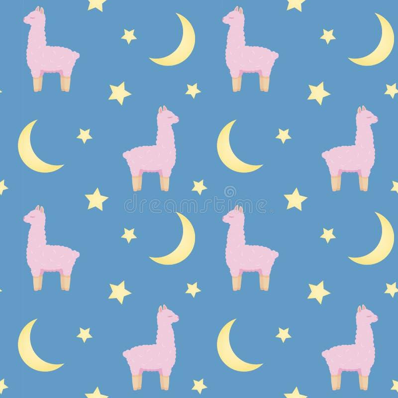 Modelo inconsútil de la repetición con los lamas mullidos rosados lindos en fondo azul libre illustration