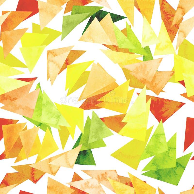 Modelo inconsútil de la repetición con los triángulos brillantes de la acuarela libre illustration