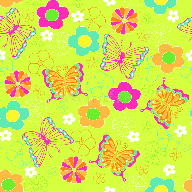 Modelo inconsútil de la repetición de la mariposa y de las flores stock de ilustración