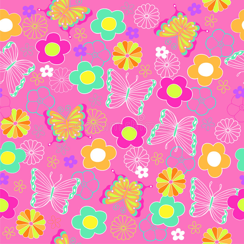 Modelo inconsútil de la repetición de la mariposa y de las flores libre illustration