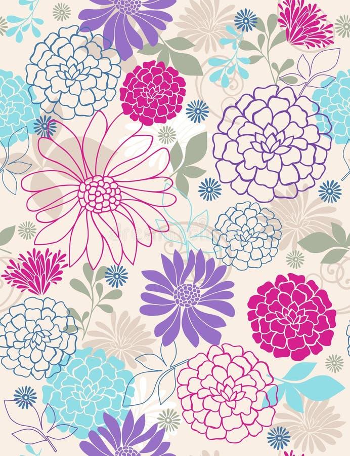 Modelo inconsútil de la repetición de las flores delicadas stock de ilustración