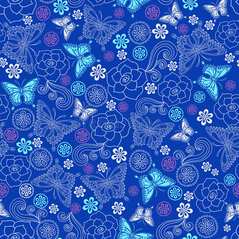 Modelo inconsútil de la repetición de las rosas y de las mariposas stock de ilustración