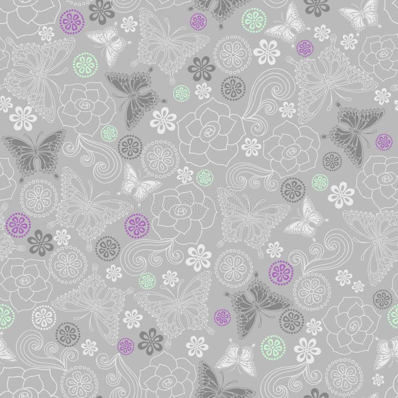 Modelo inconsútil de la repetición de las rosas y de las mariposas ilustración del vector