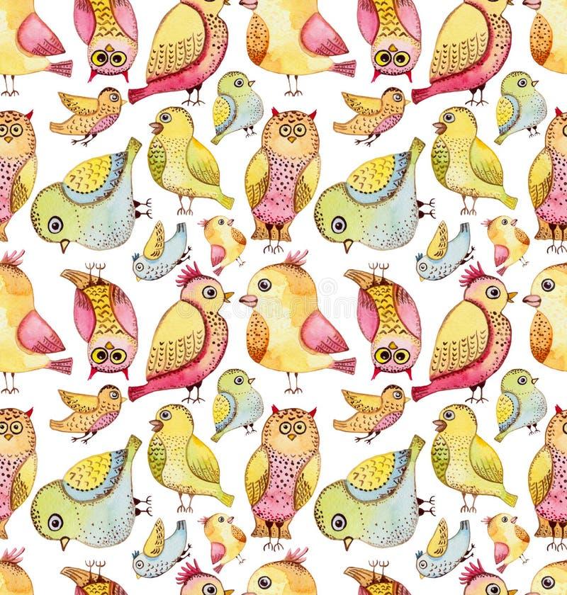 Modelo inconsútil de la repetición de los pájaros divertidos coloridos de la acuarela stock de ilustración