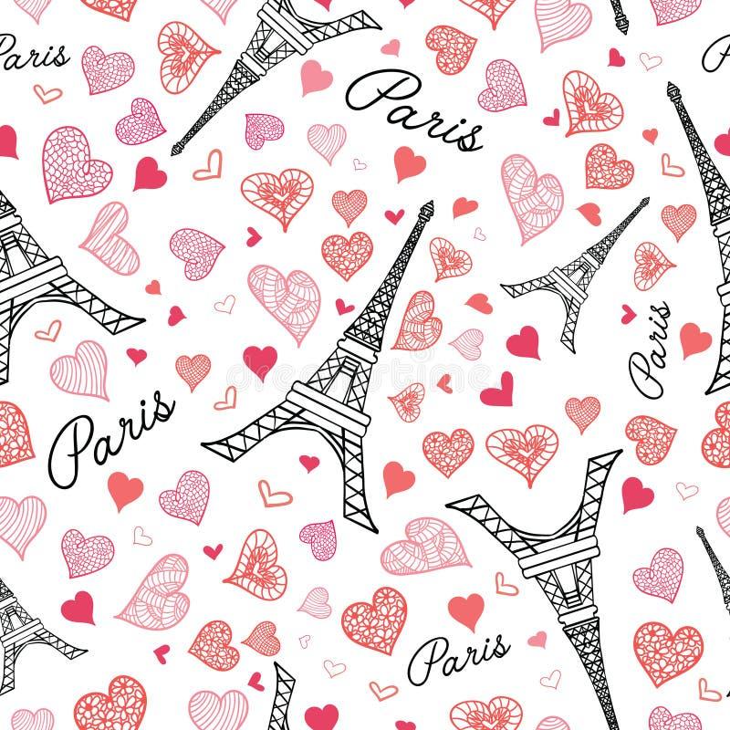Modelo inconsútil de la repetición de París de la torre de Eifel del vector que estalla con los corazones rosados del día de tarj ilustración del vector