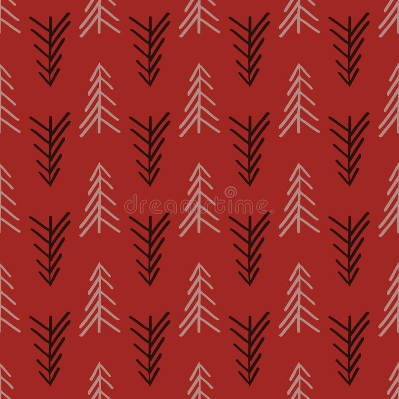 Modelo inconsútil de la repetición del árbol rosado de la raspa de arenque ilustración del vector