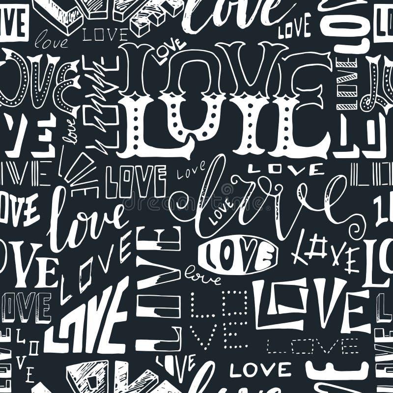 Modelo inconsútil de la repetición del estilo tipográfico Dé el texto indicado con letras en blanco y negro, amor dibujado mano d stock de ilustración
