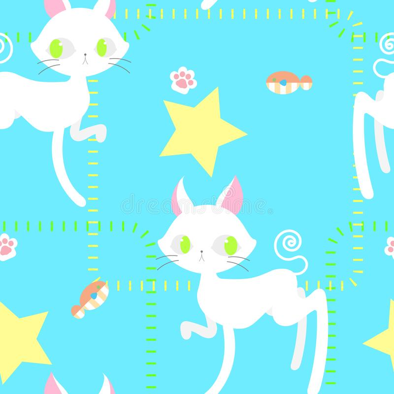 Modelo inconsútil de la repetición del gato con la impresión y los pescados del pie stock de ilustración