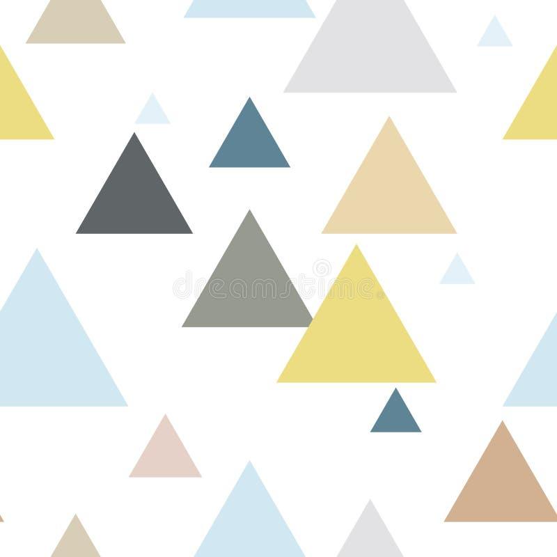 Modelo inconsútil de la repetición del triángulo geométrico en colores azules, amarillos, marrones, grises stock de ilustración