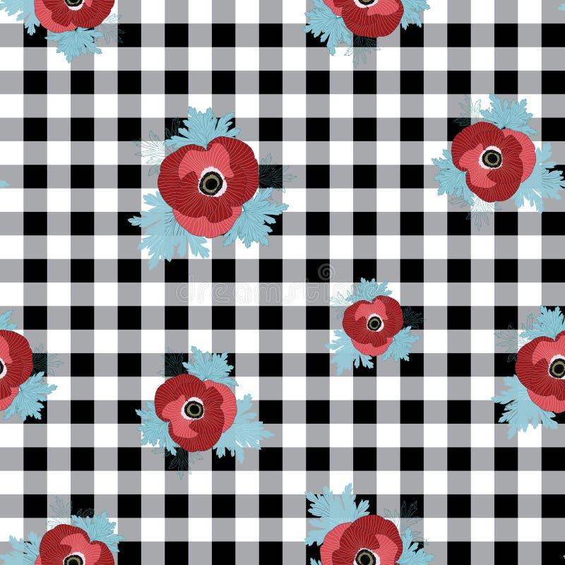 Modelo inconsútil de la repetición floral del vector con las flores rojas y rosadas de la anémona en fondo comprobado negro libre illustration