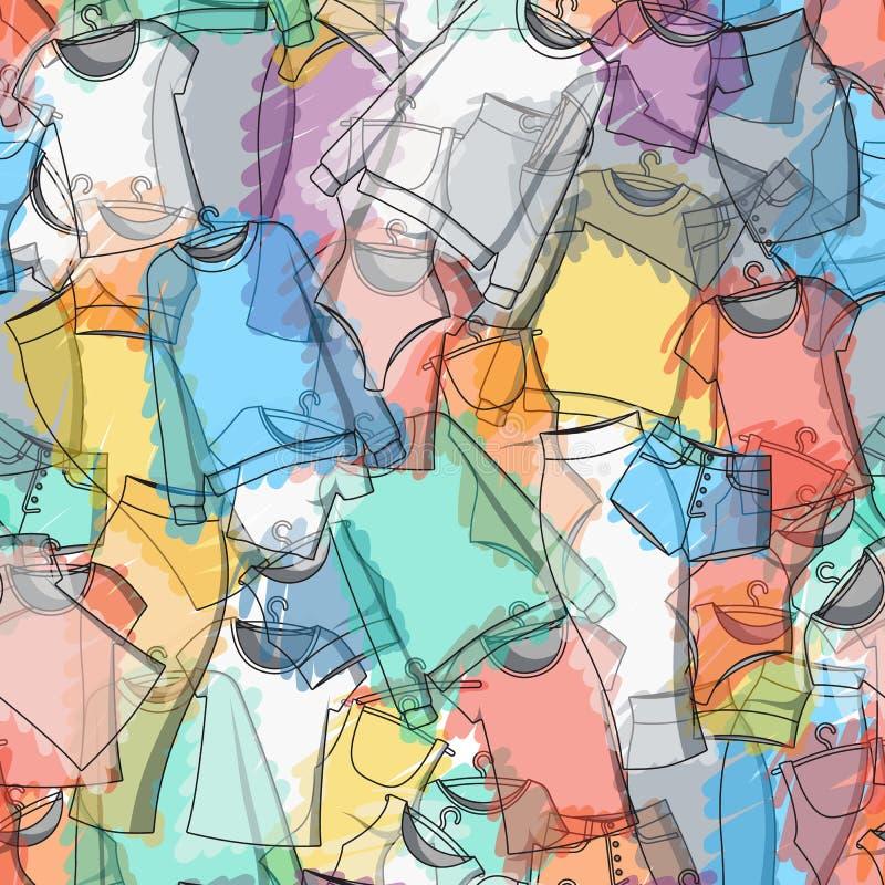 Modelo inconsútil de la ropa colorida para el diseño elegante ilustración del vector