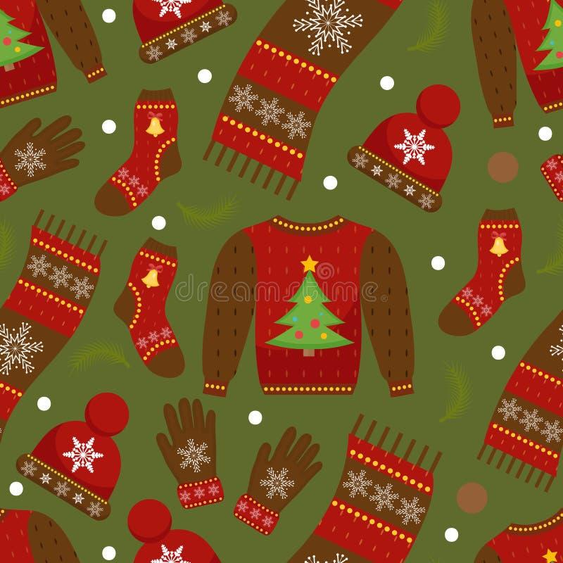 Modelo inconsútil de la ropa del invierno Ropa de la Navidad que repite textura Fondo infinito de la ropa caliente Suéter, guante libre illustration