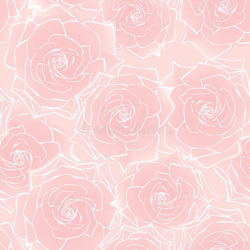 Modelo inconsútil de la rosa de la flor ilustración del vector