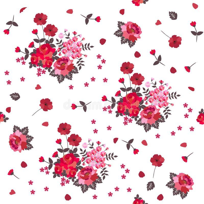 Modelo inconsútil de la rosa y de la amapola Flores rojas y rosadas aisladas en el fondo blanco ilustración del vector