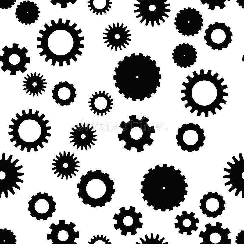 Modelo inconsútil de la rueda del diente Tema del mecanismo, tecnológico o industrial Fondo plano del vector en blanco y negro ilustración del vector