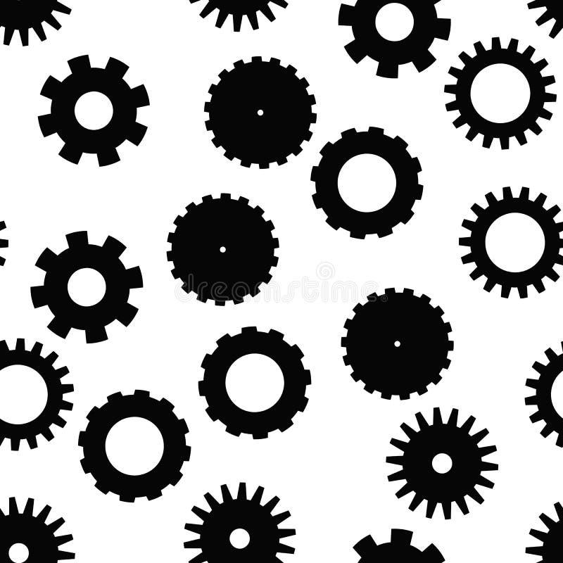 Modelo inconsútil de la rueda del diente Tema del mecanismo, tecnológico o industrial Fondo plano del vector en blanco y negro stock de ilustración