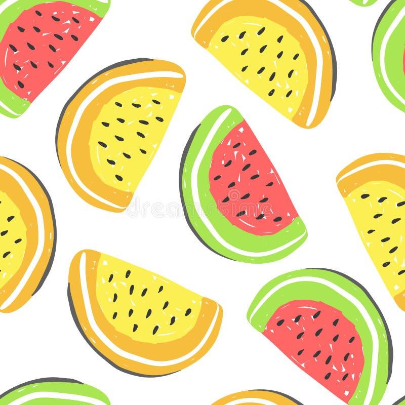 Modelo inconsútil de la sandía Detox rojo y amarillo fresco del verano de las sandías libre illustration