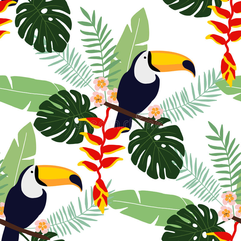Modelo inconsútil de la selva tropical con el pájaro del tucán, flores y hojas de palma, diseño plano del heliconia y del plumeri libre illustration