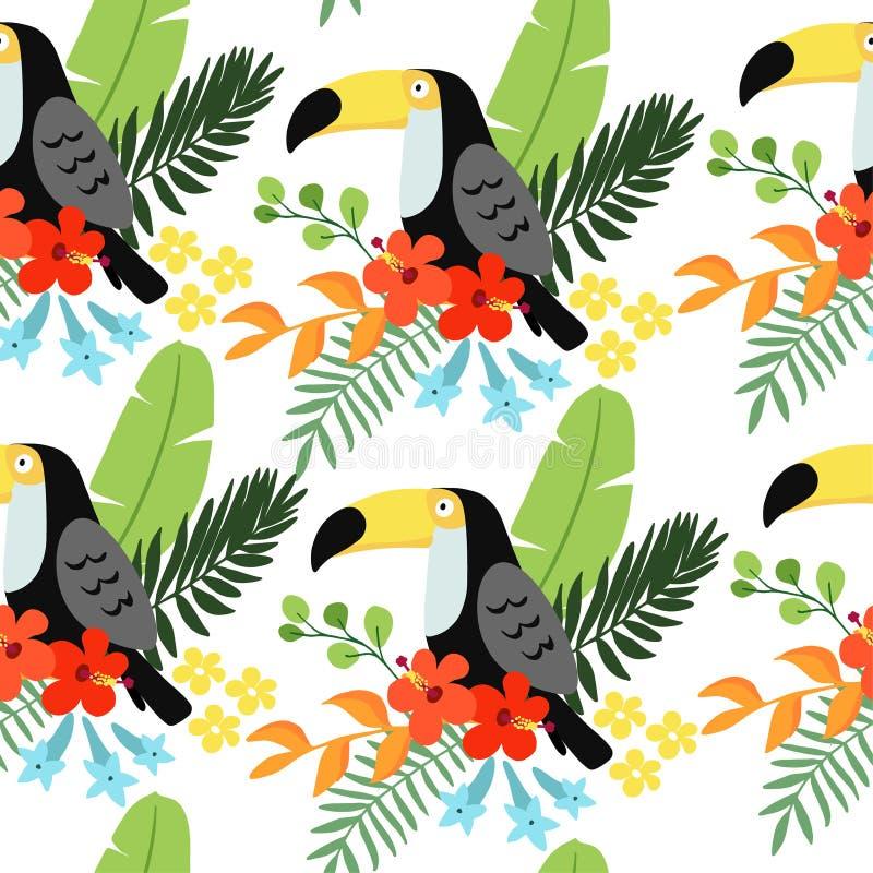 Modelo inconsútil de la selva tropical con el pájaro del tucán, flores y hojas de palma, diseño plano del heliconia y del hibisco libre illustration
