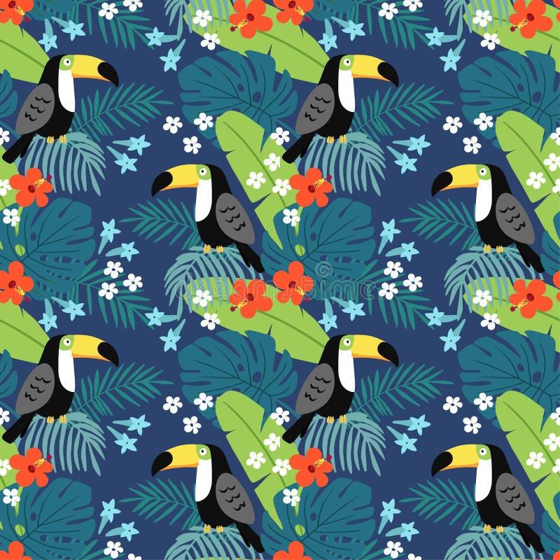 Modelo inconsútil de la selva tropical con el pájaro del tucán, las flores del hibisco y las hojas de palma Diseño plano, ejemplo libre illustration