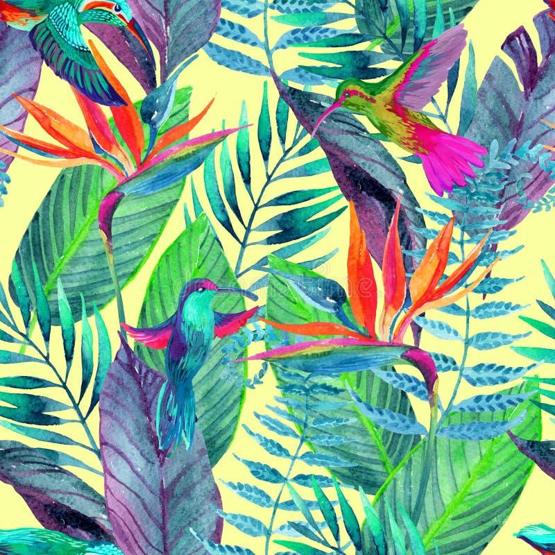 Modelo inconsútil de la selva tropical Fondo del diseño floral stock de ilustración