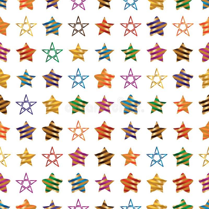 Modelo inconsútil de la simetría colorida de la raya de la cinta de la estrella ilustración del vector