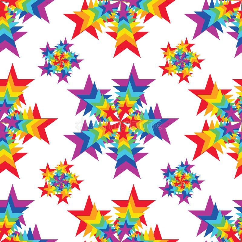 Modelo inconsútil de la simetría del color del arco iris del rayo de la estrella stock de ilustración