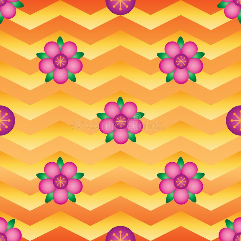 Modelo inconsútil de la simetría del galón de la pendiente de la flor ilustración del vector