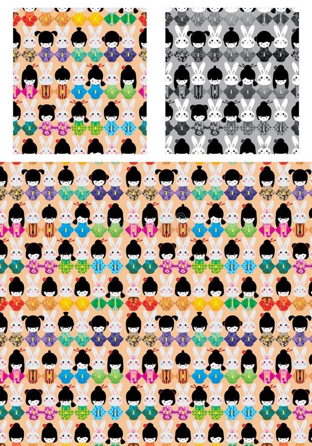 Modelo inconsútil de la simetría del kimono del conejo de la muñeca de Japón libre illustration