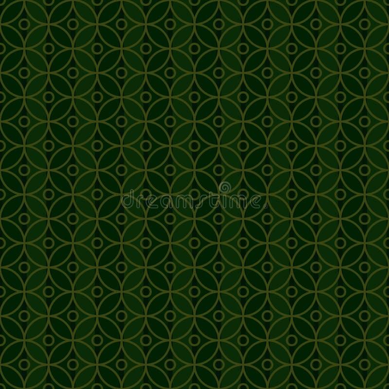 Modelo inconsútil de la simetría del verde del círculo de Ramadan Islam stock de ilustración