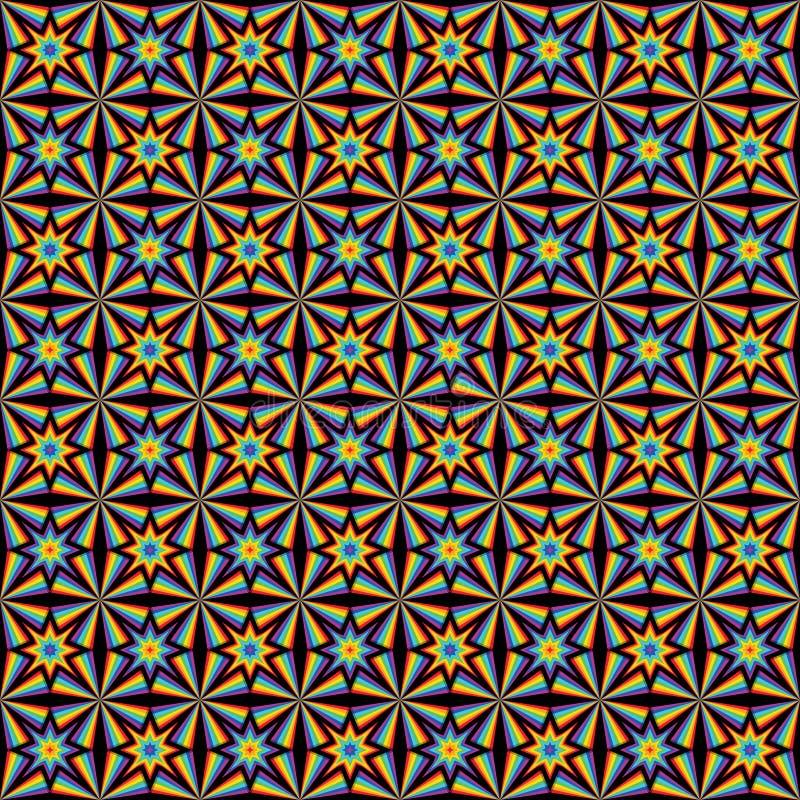 modelo inconsútil de la simetría de la estrella del rayo del arco iris 3d ilustración del vector