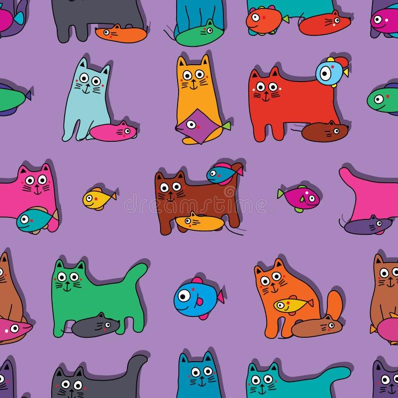 Modelo inconsútil de la simetría de los pescados del ratón del gato ilustración del vector