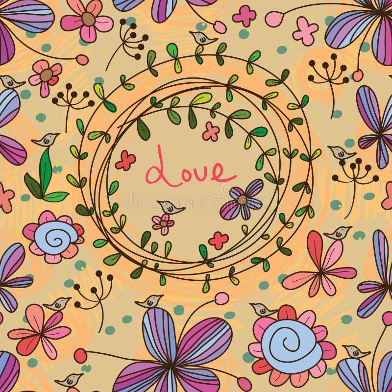 Modelo inconsútil de la tarjeta de la flor libre illustration