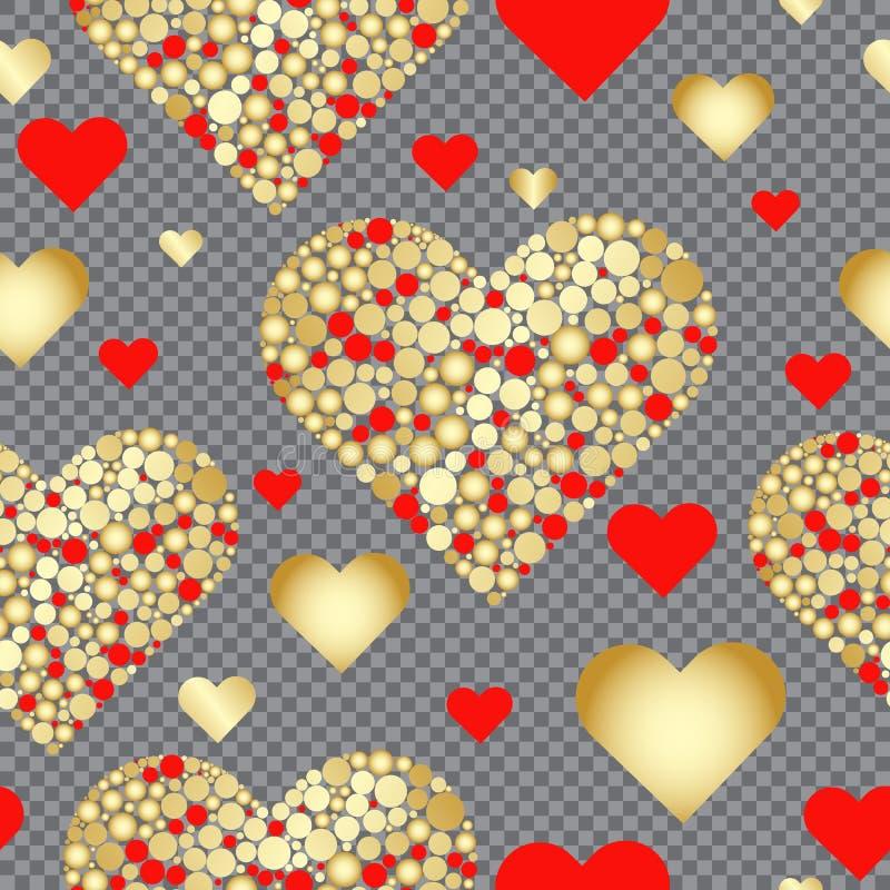 Modelo inconsútil de la tarjeta del día de San Valentín de los corazones rojos y del oro libre illustration