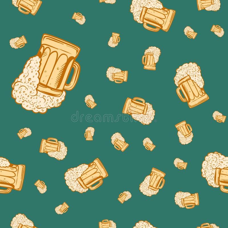 Modelo inconsútil de la taza de cerveza libre illustration