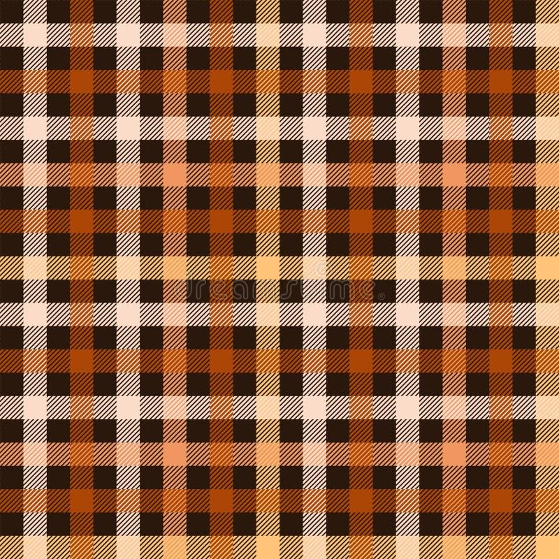 Modelo inconsútil de la tela a cuadros del tartán en marrón y anaranjado, vector libre illustration