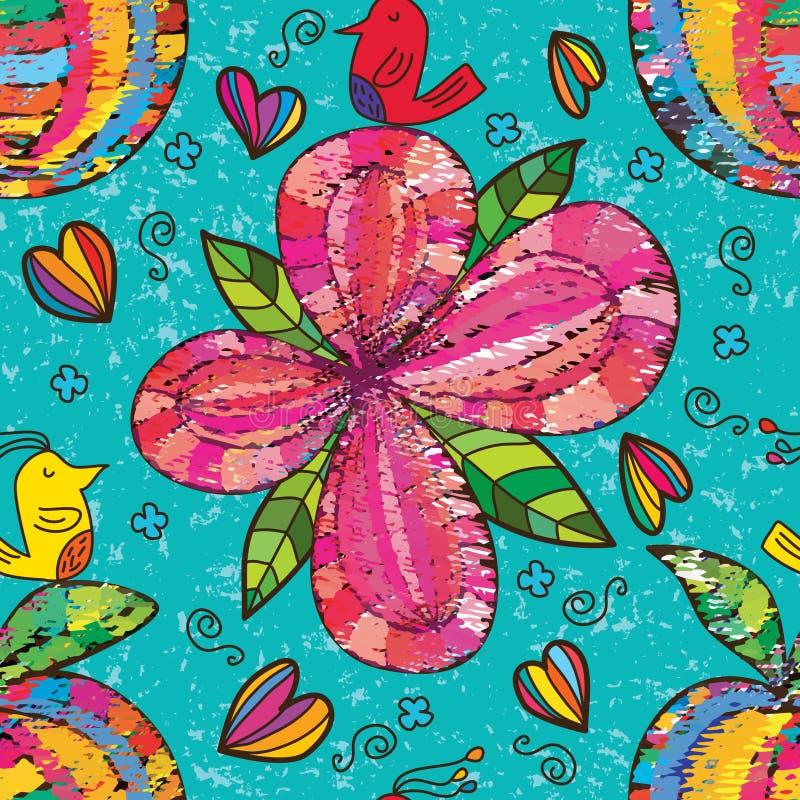Modelo inconsútil de la tela de la fruta de la flor del pájaro del zen libre illustration