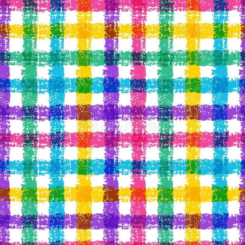 Modelo inconsútil de la tela escocesa del bosquejo del lápiz con las rayas coloridas Vect stock de ilustración