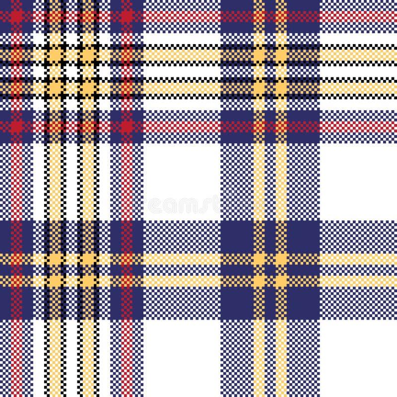 Modelo inconsútil de la tela escocesa del control azul blanco del pixel libre illustration