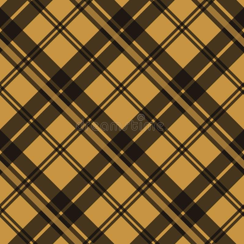 Modelo inconsútil de la tela de la tela escocesa de tartán de Brown de la textura del tartán escocés del control Ilustración del  ilustración del vector