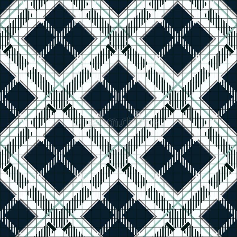 Modelo inconsútil de la tela escocesa de tartán Modelo inconsútil de la tela de la textura del tartán blanco y negro del control  ilustración del vector