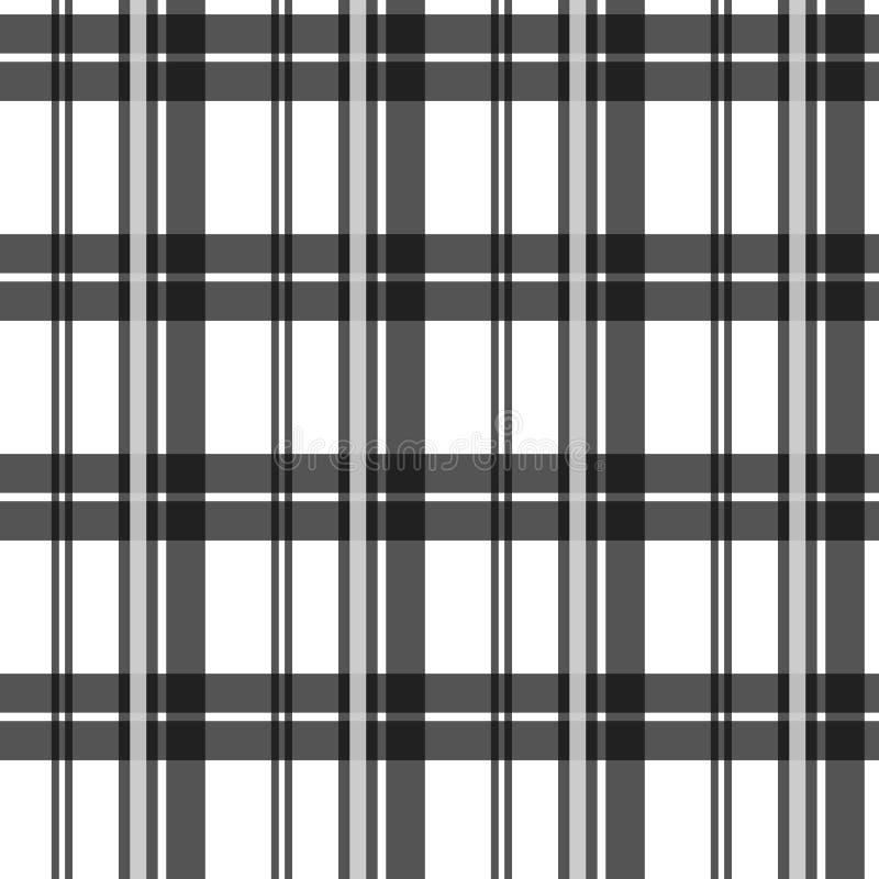 Modelo inconsútil de la tela de la textura del tartán blanco y negro del control Ilustración del vector libre illustration
